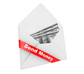 Envelope with Dollars Billls and Send Money Sign