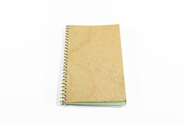 brown notebook isolated on white background