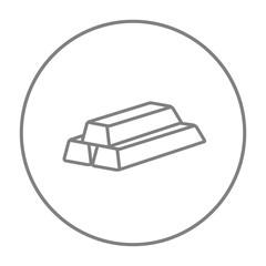 Golden bars line icon.