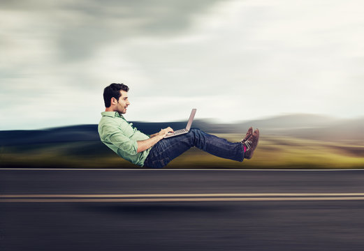 Fast internet concept. Autonomous self driving vehicle car technology
