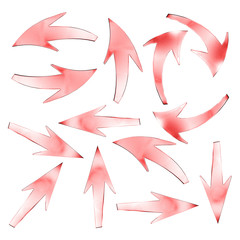 Pink arrows isolated on white background. 3d rendering
