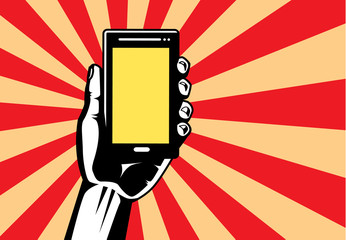 Hand holding smartphone have blank screen for text and picture in vector modern style