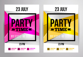 Party flyer design. Disco template. Vector illustration.