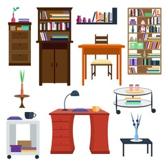 Set of colorful furnitures. Vector illustration of furnitures for interiors, living rooms. Table and chair, coffee table and bookcase, desk and cabinet. Flat design