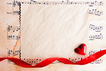 Blank present Valentine card on music sheet background