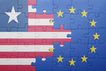 puzzle with the national flag of liberia and european union