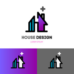 Abstract house logo design template.