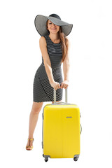 Travel. Woman with suitcase.
