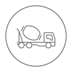 Concrete mixer truck line icon.