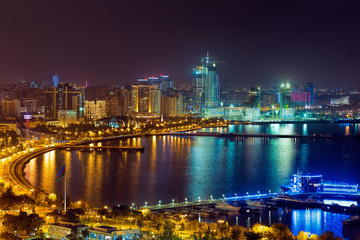 Night view of the city of Baku - the capital of the Republic of Azerbaijan