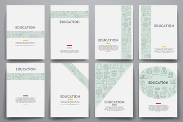 Corporate identity vector templates set with doodles education theme