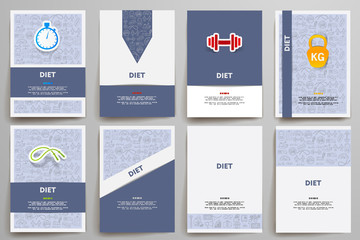 Corporate identity vector templates set with doodles diet theme