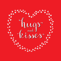 Valentine's Day Card. Hugs and kisses message. Vector.