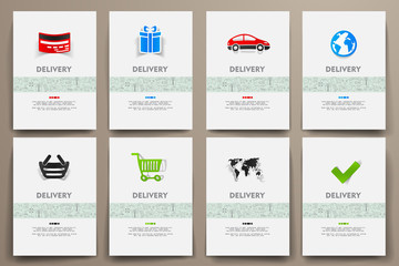 Corporate identity vector templates set with doodles delivery theme