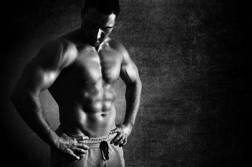 Muscular body perfection  Black and White
