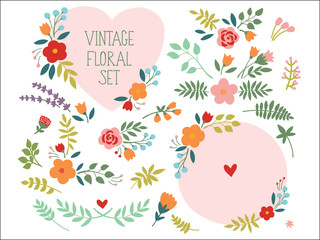 Vector set with vintage flowers elements