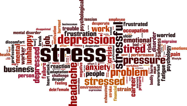 Stress word cloud concept. Vector illustration