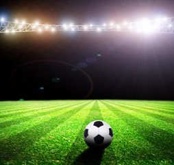 Bright lights at night and soccer stadium
