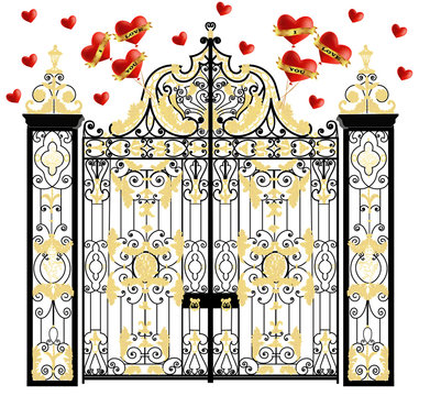 Kensington palace vector gate with hearts, home of duke and duchess of cambridge, royal love, valentines day
