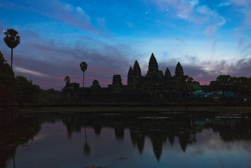 angkor wat temple at night