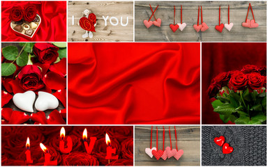 Red hearts, rose flowers, decoration. Valentines Day