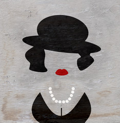 woman with pearls on wood grain texture