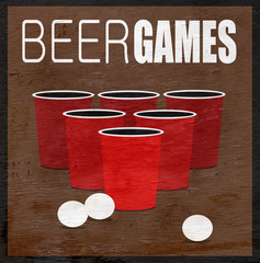 beer games design with cups and balls on wood grain texture