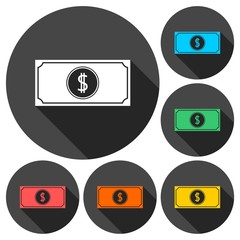 Money vector icons set with long shadow