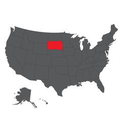 South Dakota red map on gray USA map vector