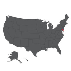 Delaware red map on gray USA map vector