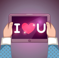 I love you inscription on tablet pc screen