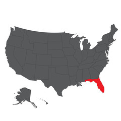 Florida red map on gray USA map vector