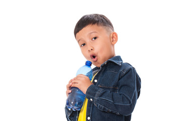 Happy boy with bottle of water on white background