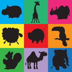 illustration of animation silhouettes of animals for the children book