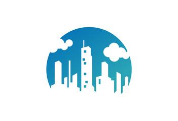 City Silhouette of Blue Sky Logo Vector
