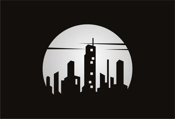 City Silhouette of Moon Logo Vector