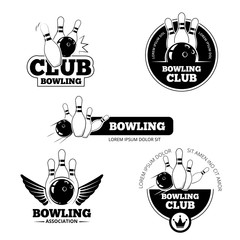 Bowling vector labels, emblems and badges set. Club gaming play, skittle and strike illustration