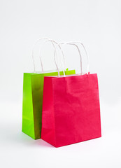 multicolored Shopping bags on a white background, sale, purchase