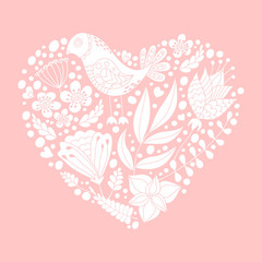 Doodle bird and floral elements in heart shape. White silhouette.