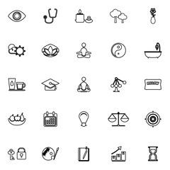 Meditation line icons on white background
