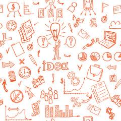 Business doodles seamless pattern. vector illustration