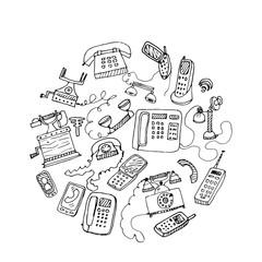 set of hand drawn telephones