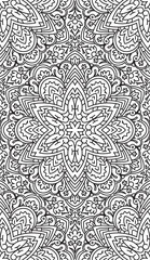 Seamless Abstract Tribal Black-White Pattern. Hand Drawn Ethnic
