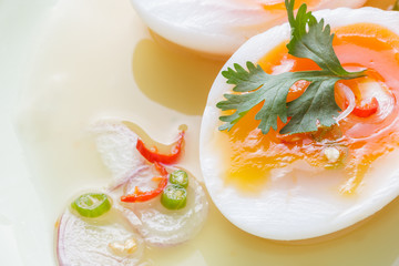 Close up Soft Boiled Eggs Spicy Salad.