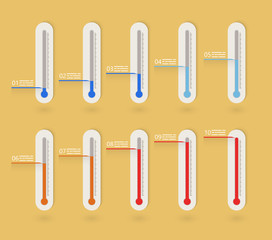 Flat thermometer icons collection