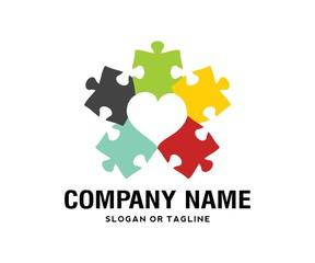autism love children puzzle logo symbol