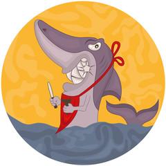 Cartoon hungry shark