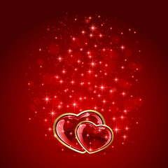 Two hearts on starry Valentines background