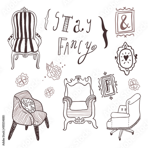 Hand Drawn Furniture Interior Decorations And Frames Lettering
