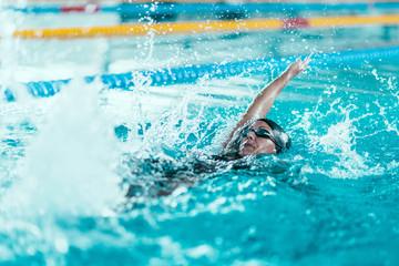 Backstroke swimming race